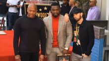 Dr. Dre, 50 Cent and Eminem Taking Pictures After Opening the Star On the Hollywood Walk of Fame