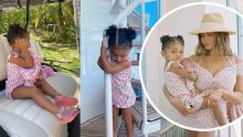 Matchy matchy💗🎀 Kylie and Stormi twins in pink-and-white dresses from Dior