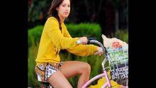 Ashley Tisdale riding her bike in Toluca Lake