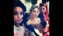 Selena Gomez, Ashley Benson & Vanessa Hudgens on Spring Breakers Set (Florida)