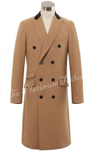 Mens Double Breasted Cashmere & Wool Long Overcoat Velvet Collar Winter Cromby    eBay