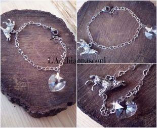Coeur en Swarovski Bracelet - Bella Swan Edward Cullen Jacob Balck Bracelet - Twilight et loup Twilight saga