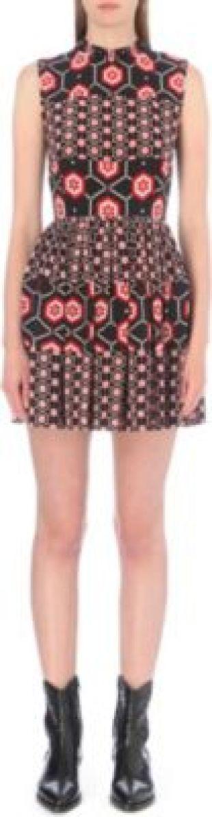 SANDRO Honeycomb silk dress
