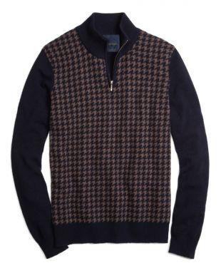 Brook Brothers Cashmere Large Houndstooth Half-Zip Mockneck Sweater