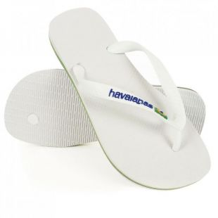 HAVAIANAS Tongs Logo Brésil   Mixte   Blanc