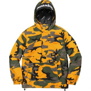 Supreme Hooded Logo Half Zip Pullover Yellow Camo
