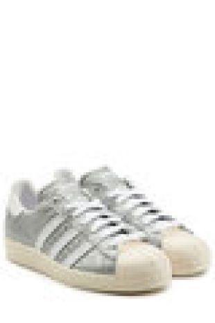 Baskets en cuir argenté texturé Superstar 80s   Adidas Originals | WOMEN | FR STYLEBOP.COM