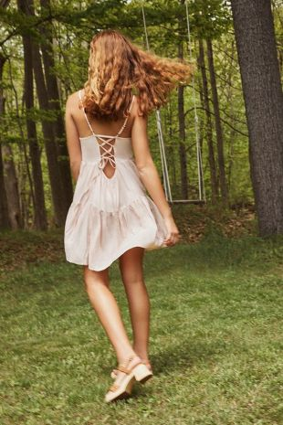 uo Harper tiered lace up baby doll