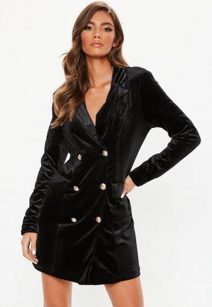 Robe-blazer en velours noire à boutons dorés