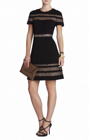 BCBG Max Azria Black Kalli Lace Insert Dress