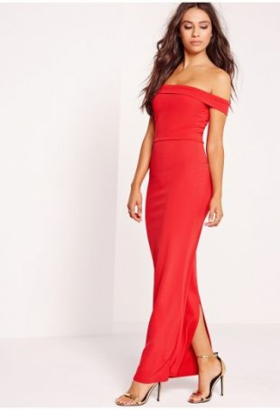 long red boat neck dress