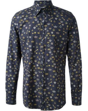Dolce & Gabbana Crown-Print Cotton Sportshirt