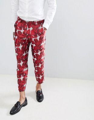 ASOS EDITION   Pantalon de costume court et ajusté en jacquard à fleurs