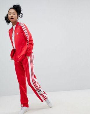 adidas Originals   adicolor Adibreak   Pantalon avec boutons pressions   Rouge at asos.com