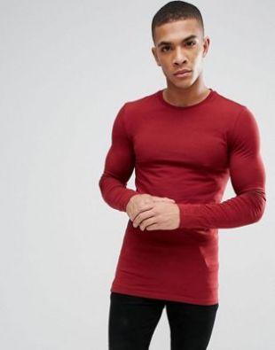 ASOS DESIGN - T shirt moulant long à manches longues   Rouge at asos.com