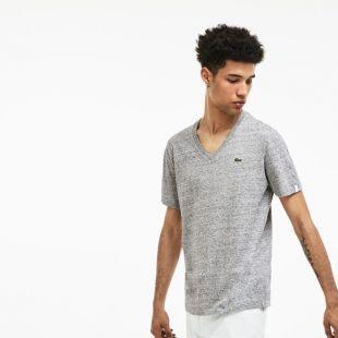 T shirt col V unisexe Lacoste LIVE en jersey de coton uni