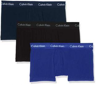 Calvin Klein 3p Low Rise Trunk Shorties, Bleu (Black/Blue Shadow/Cobalt Water DTM WB 4ku), Medium Homme