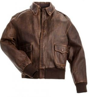 Men's Aviator A 2 Flight Jacket Distressed Brown Real Leather Bomber Jacket  | eBay
