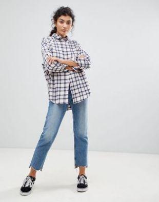 ASOS DESIGN Oversized Boyfriend Shirt in Blush Check at asos.com