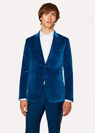 Men's Slim-Fit Blue Velvet Blazer