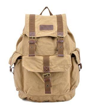 Gootium 21101KA Specially High Density Thick Canvas Backpack Rucksack,Khaki