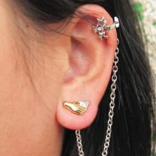 Star Cluster & Hands Earring 13th Doctor Who Inspired Ear Cuff Stud Dr Cosplay