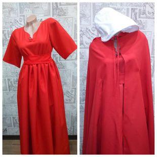 Costume de conte de la servante Cosplay costume Halloween femme costume rouge à capuche manteau conte cape Plus robe Cap Bonnet servante taille costume