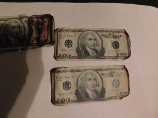 Dark knight burnt money screen used Batman movie prop $100 bill. Heath Ledger