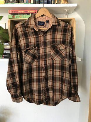 Chemise Western à carreaux Vintage hommes femmes moyen des années 70 des années 1970 Seventies / j.c. Penny ' s Button Up / brun flanelle / Western Cowboy Rockabilly Grunge /
