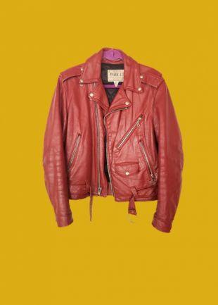 VTG unisexe en cuir veste moto Biker rouge des années 70 des années 60 argent Moto Punk Brando Perfecto Grunge 38 hommes dames petit moyen grand Vintage