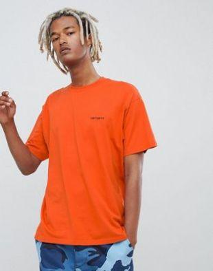 Carhartt WIP   T shirt à inscription brodée   Orange at asos.com
