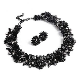 Black Statement Necklace Earrings for Women Novelty Jewelry Set Formal Party Wedding with Gift