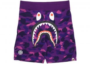 Bape Color Camo WGM Print Shark Sweatshorts Purple