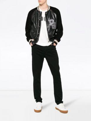 Dolce & Gabbana Veste Bomber Bi matières à Logo