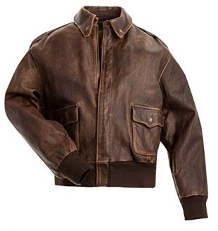 CHICAGO-FASHIONS A2 Aviator Air Force Pilot Men Vintage Distressed Brown Flight Genuine Cowhide Leather Cockpit Bomber Jacket,X-Large