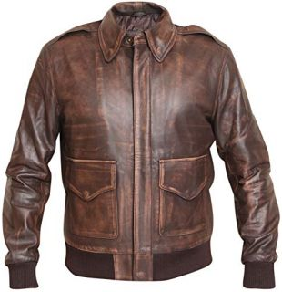Aviator A-2 Distressed Brown Real Leather Bomber Flight Jacket (XL)
