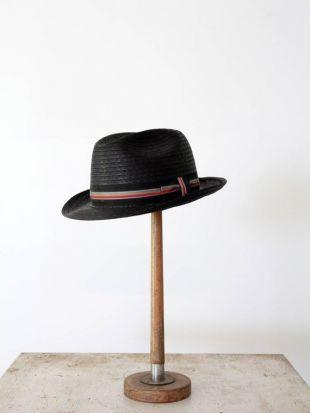 Vintage fedora chapeau de paille Dorfman Pacific tissé