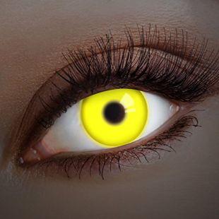 UV Couleur des lentilles de contact Yellow Shock de aricona – années couvrant la lentille à terme pour les yeux sombres et claires- sans correction- les lentilles colorées pour le carnaval- des soirées à thème et des costumes d'Halloween