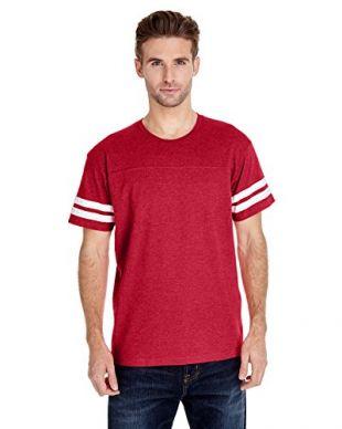 Lat Sportswear Men's Stripes Football T-Shirt, Vintage Red/ Blended White, Small