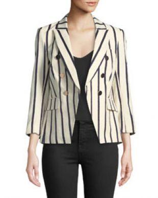Veronica Beard Empire Striped One Button Dickey Jacket