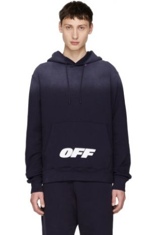 Off White   Pull à capuche bleu Wing Off Logo