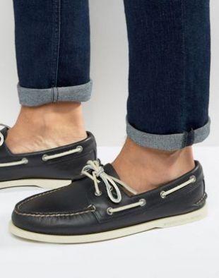 Sperry   Topsider   Chaussures bateau en cuir   Bleu marine at asos.com