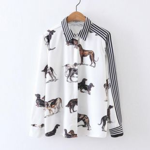 Summer Women's Printed Stripe Long Sleeve Shirt Chiffon Blouses Tops Outwear New | eBay