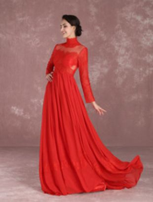 robe sublime de soirée A ligne en chiffon rouge avec dentelle col roulé Avec traîne Milanoo