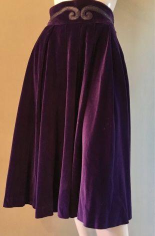 Longueur de Thierry Mugler violette velours plissé Midi Vintage 1980 jupe