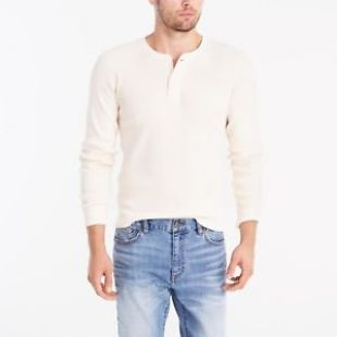 New J CREW Mens Small Long Sleeve Casual Thermal Henley T Shirt Shirt Cream | eBay