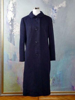 Manteau d'hiver laine bleu marine des années 1960, les européennes Vintage genou longueur Cachemire femmes mélangé manteau: taille 12 (US), 16 (Royaume Uni)