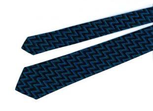 Tricot en zigzag bleu et noir cravate, vintage des années 1960, à la main lavable prêt à porter, fière allure sur votre premier emploi ou votre la plus importante réunion #47