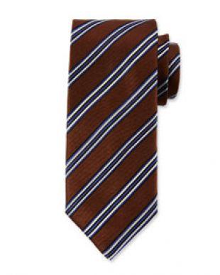 Canali Mens Alt Stripe Silk Satin Tie, Brown