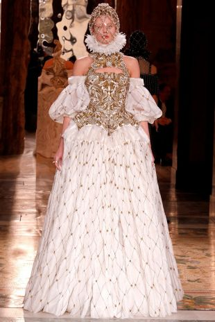 Alexander McQueen Archived Organza Jacquard Lace Gown, Fall 2013 Ready To Wear Collection